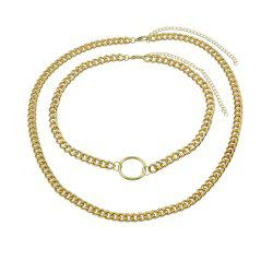 Double Layer Link Chain with Circle Shape Necklace -