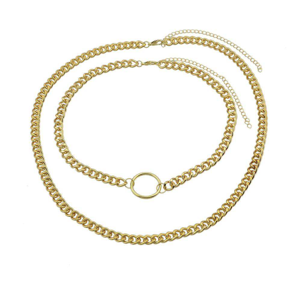 Chic Double Layer Link Chain with Circle Shape Necklace