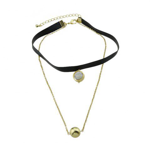 Outfit Multi Layers Chain PU Leather Tattoos Choker Necklace