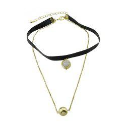 Multi Layers Chain PU Leather Tattoos Choker Necklace -