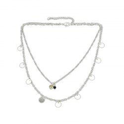 Multi Layers Chain with Rhinestone Bead Necklace -