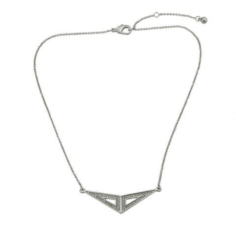 Affordable Silver Color with Rhinestone Triangle Pendant Necklace
