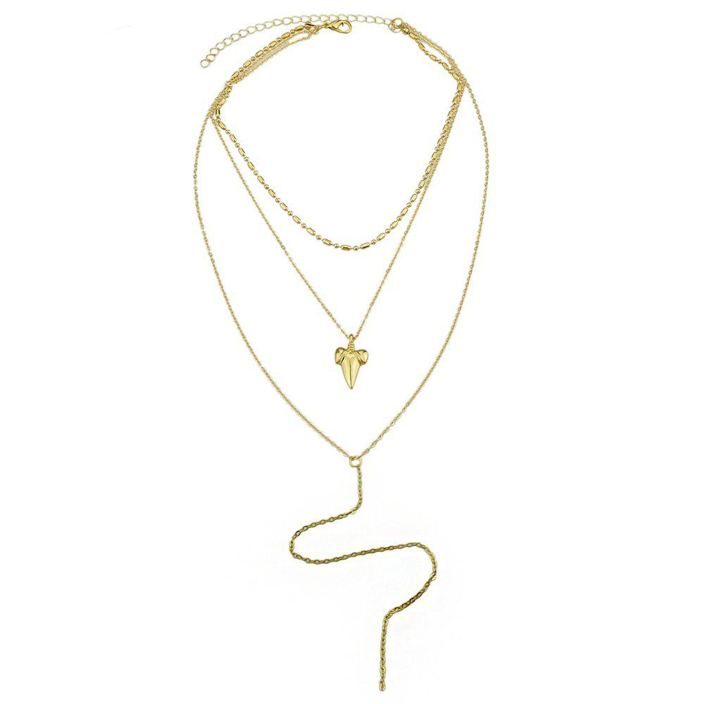Fashion Multi Layer Chain with Geometric Shape Necklace