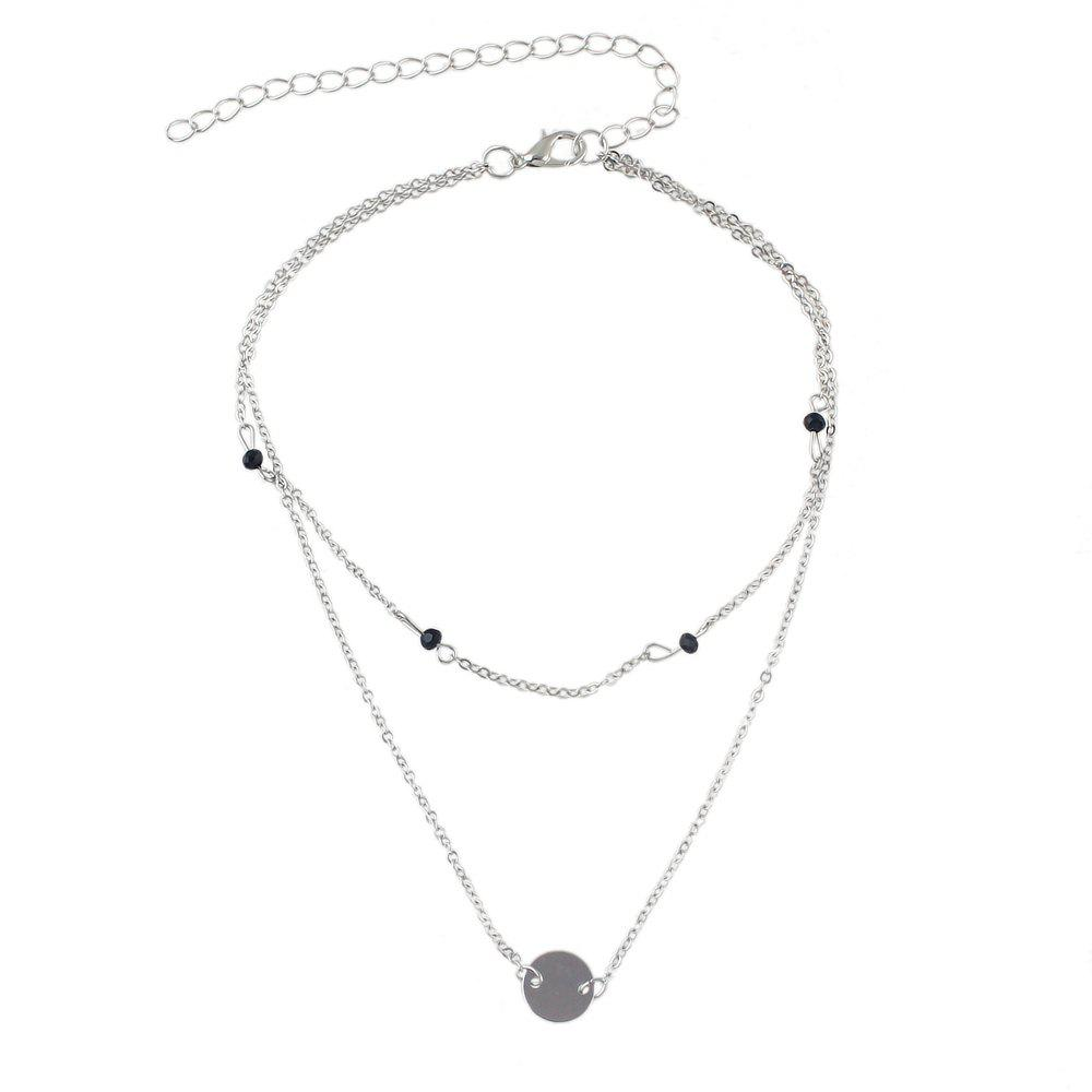 Affordable Multi Layers Chain with Round Pendant Necklace