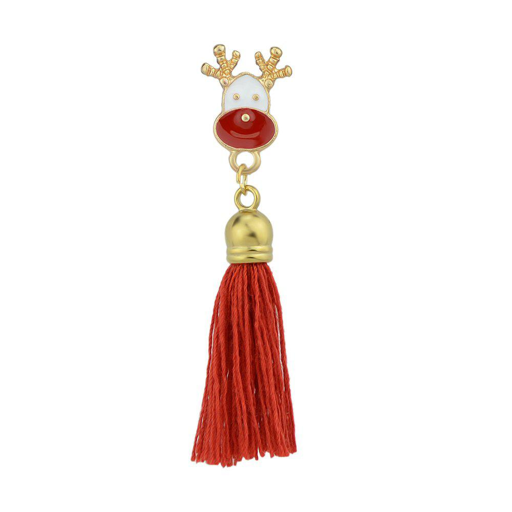 Hot Enamel with Tassel Reindeer Brooches for Women
