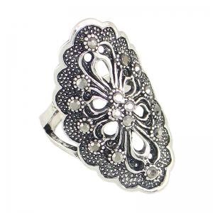 Rhinestone Hollow Out Flower Finger Rings -