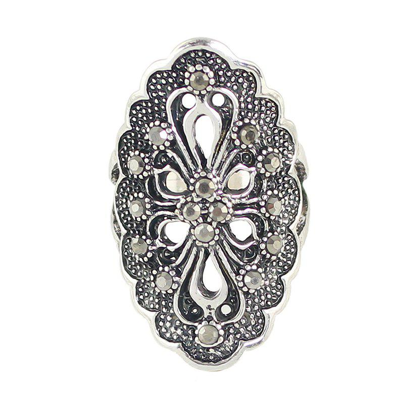 Sale Rhinestone Hollow Out Flower Finger Rings