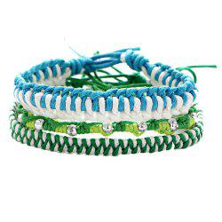 New Style Handwoven Rope Women Charm Multi-Layer Beaded Bracelet -