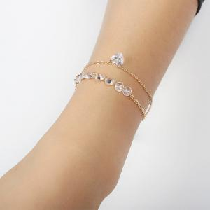 Summer Natural Fresh Double Heart Shape Zircon Bracelet -