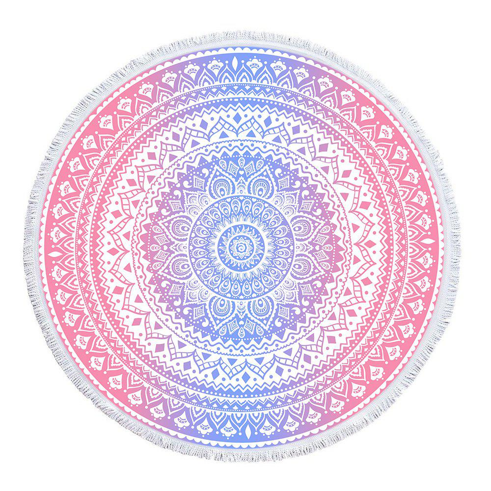 Outfit Pink Blue Mandala Beach Towel with Microfiber Tassel
