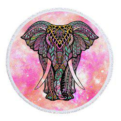 Red Starry Elephant Beach Towel with Microfiber Tassel -