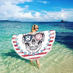 Striped Skull Beach Towel with Microfiber Tassel -