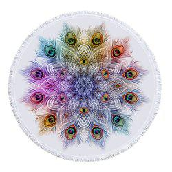 Peacock Feathers Mandala Beach Towel with Microfiber Tassel -