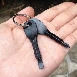 Portable Stainless Steel Chain Screwdriver Flat Head Key Ring -