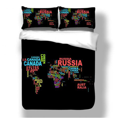 Shop 2018 New Pattern Words World Map Printing Cotton Bedding Set 3PCS Duvet CoverSet