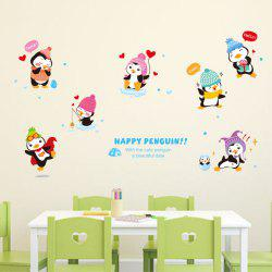 Creative Decorative Cartoon 3D Happy Penguin Wall Stickers -