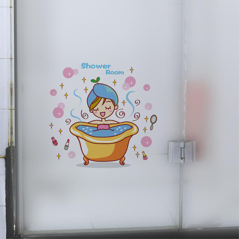 Bande dessinée décorative créative 3D Bathing Woman Wall Sticker