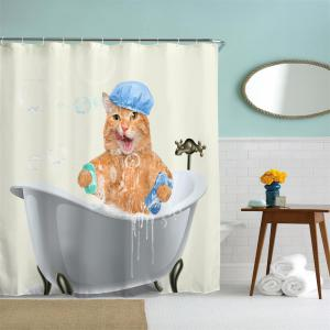 Fat Cat Bath Water-Proof Polyester 3D Printing Bathroom Shower Curtain -