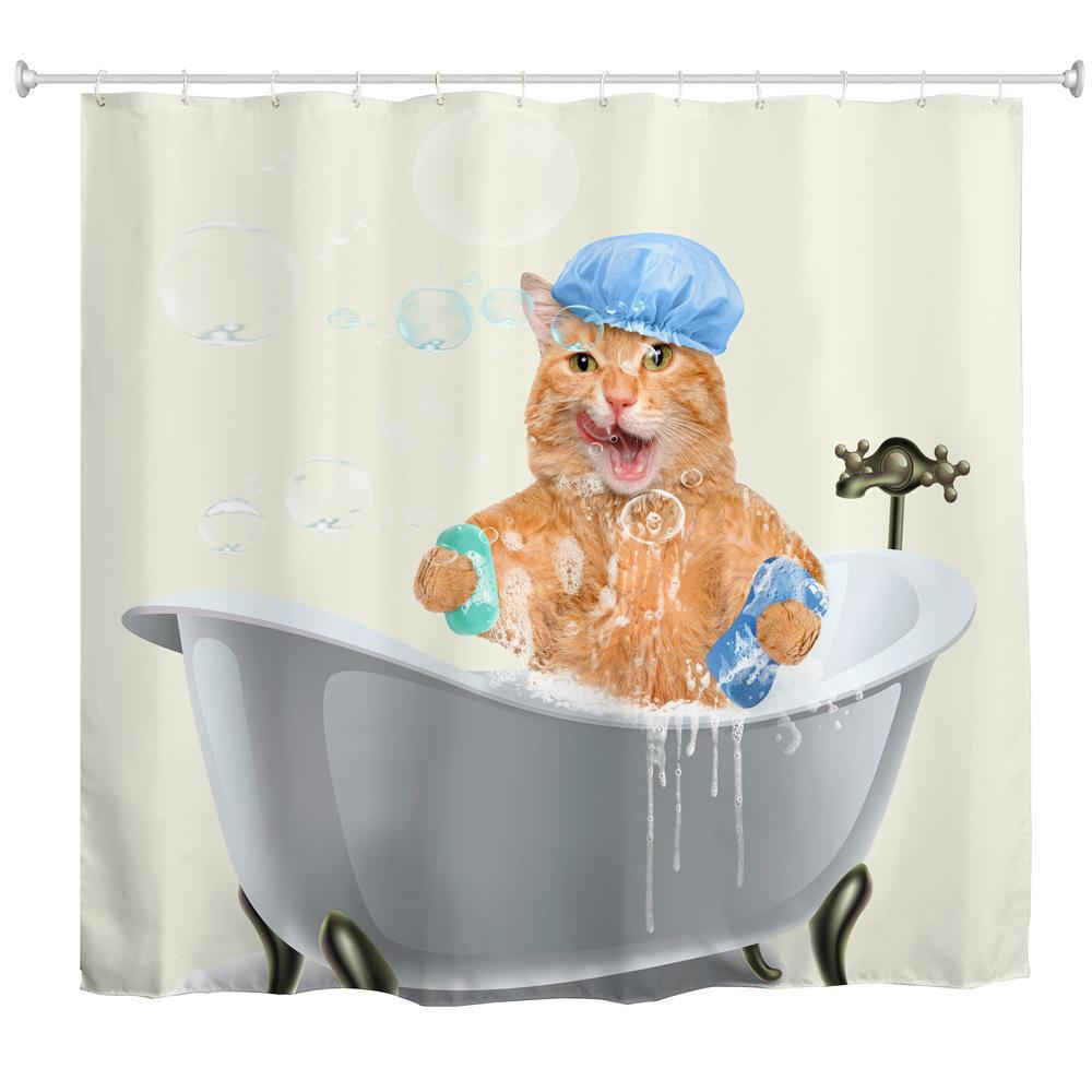 Shops Fat Cat Bath Water-Proof Polyester 3D Printing Bathroom Shower Curtain