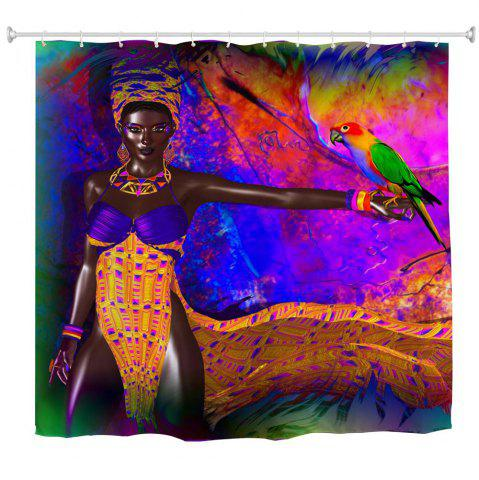 Parrot African Woman Water Proof Polyester 3D Printing Bathroom Shower Curtain