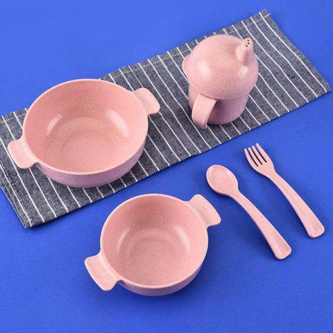 5pcs Set Kids Tableware with Bowl Fork Spoon Cup Eco Friendly Healthy