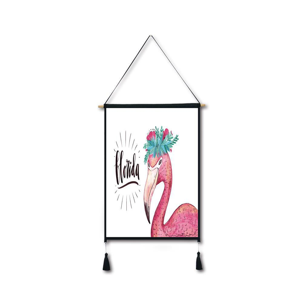 Latest Flamingo Garland Tassel Hanging Painting Wall Decor Print