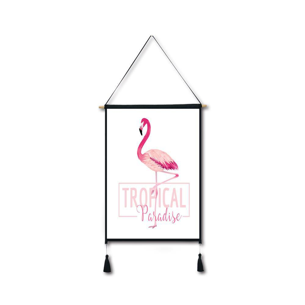 Best Letter Flamingo Tassel Hanging Painting Wall Decor Print