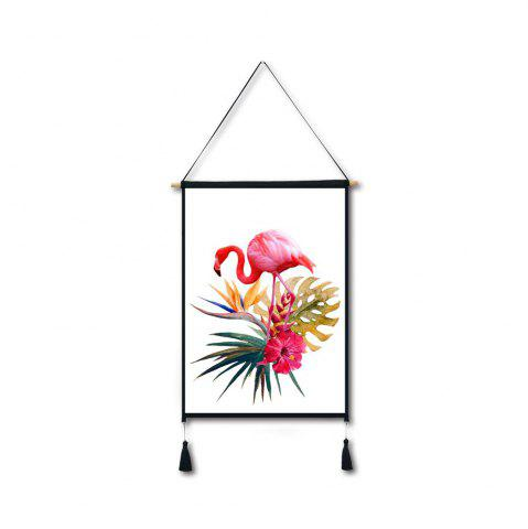 Chic Flamingo Flowers Tassel Hanging Painting Wall Decor Print
