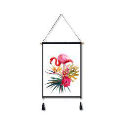Flamingo Flowers Tassel Hanging Painting Wall Decor Print -