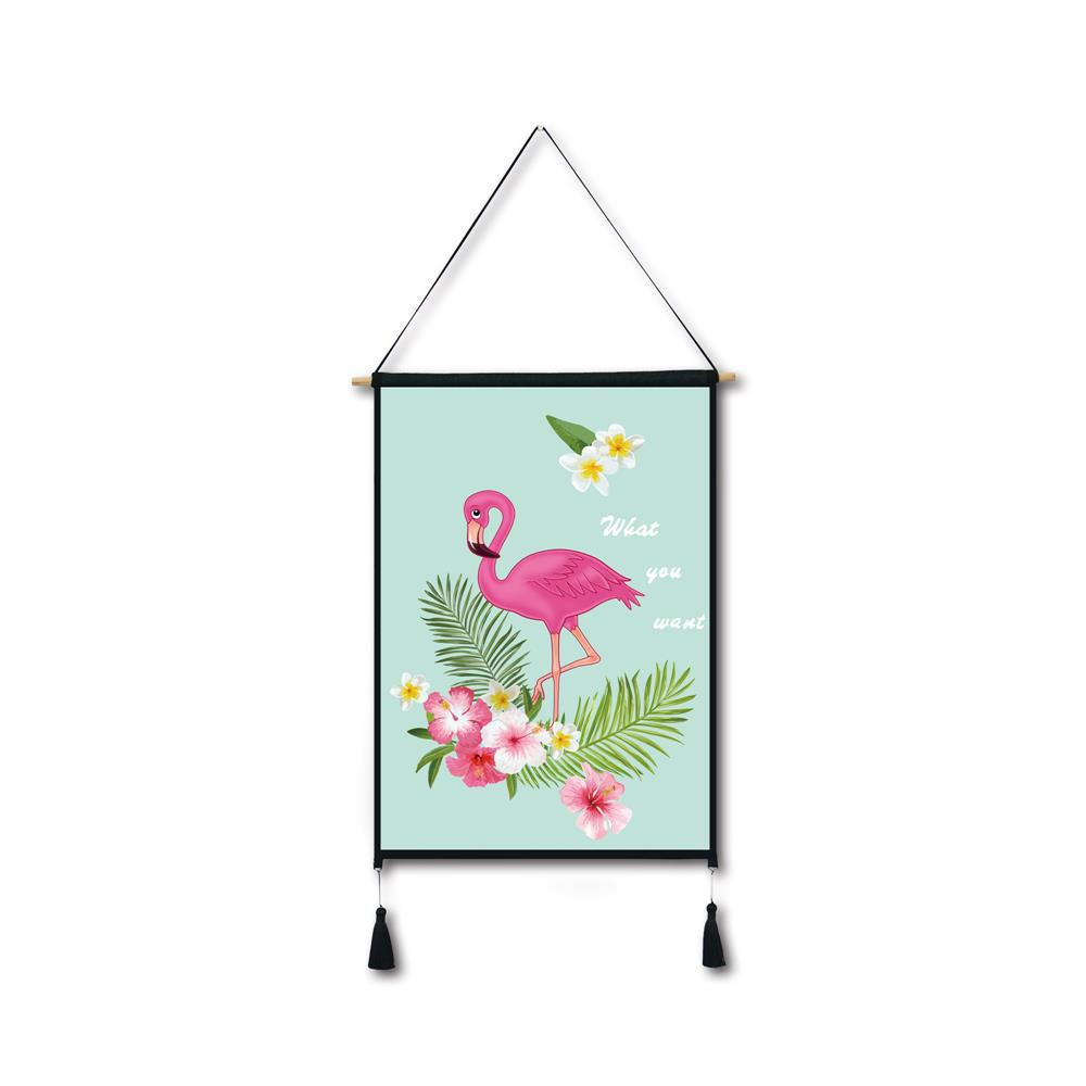 Sale Flowers Flamingos Tassel Hanging Painting Wall Decor Print
