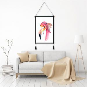 Flamingo Head Tassel Hanging Painting Wall Decor Print -