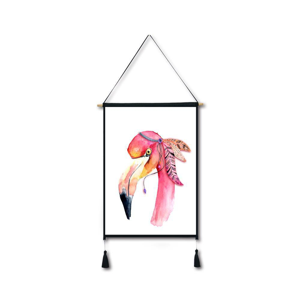 Cheap Flamingo Head Tassel Hanging Painting Wall Decor Print