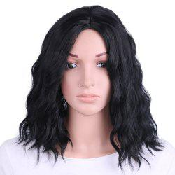 Synthetic Wig for Women Short Black Wavy Hair Water Wave Middle Parting -