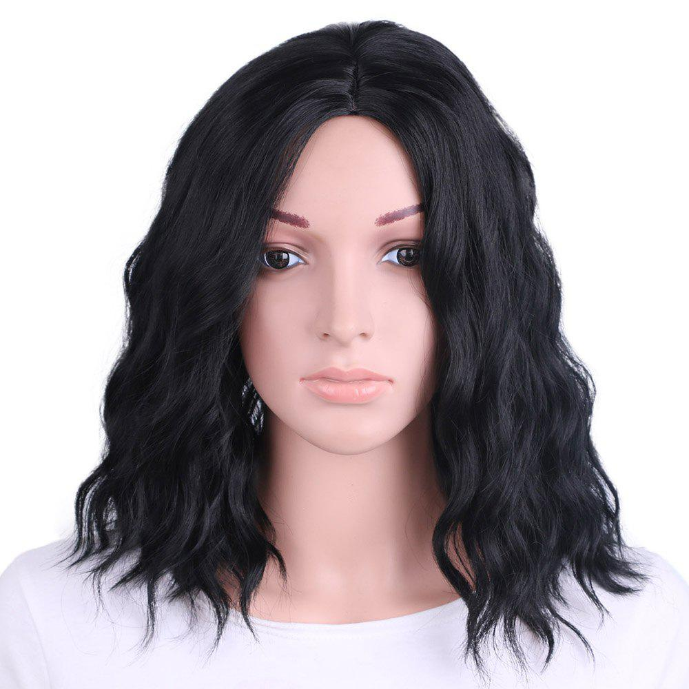 Outfits Synthetic Wig for Women Short Black Wavy Hair Water Wave Middle Parting