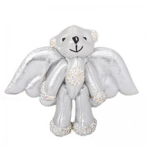 Silver Bear Stuffed Animal Backpack Clip Toy Keychain Wild Life -