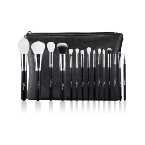Trendy 15PCS Wool Makeup Brushes with PU Leather Case