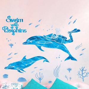 Diving and Dolphins Removable Wall Sticker PVC Transparent Film -