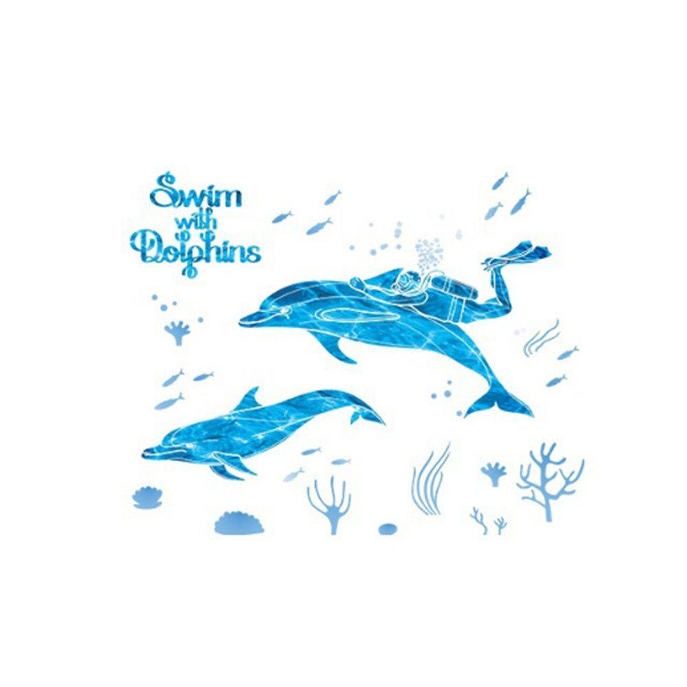 Affordable Diving and Dolphins Removable Wall Sticker PVC Transparent Film
