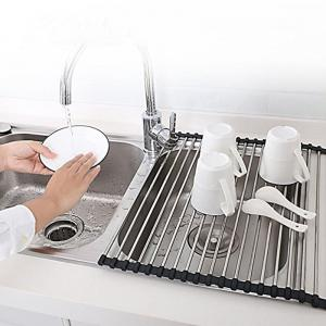 Dish Rack Multi Purpose Larger Drying Dishes Stainless Steel Foldable Over Sink -