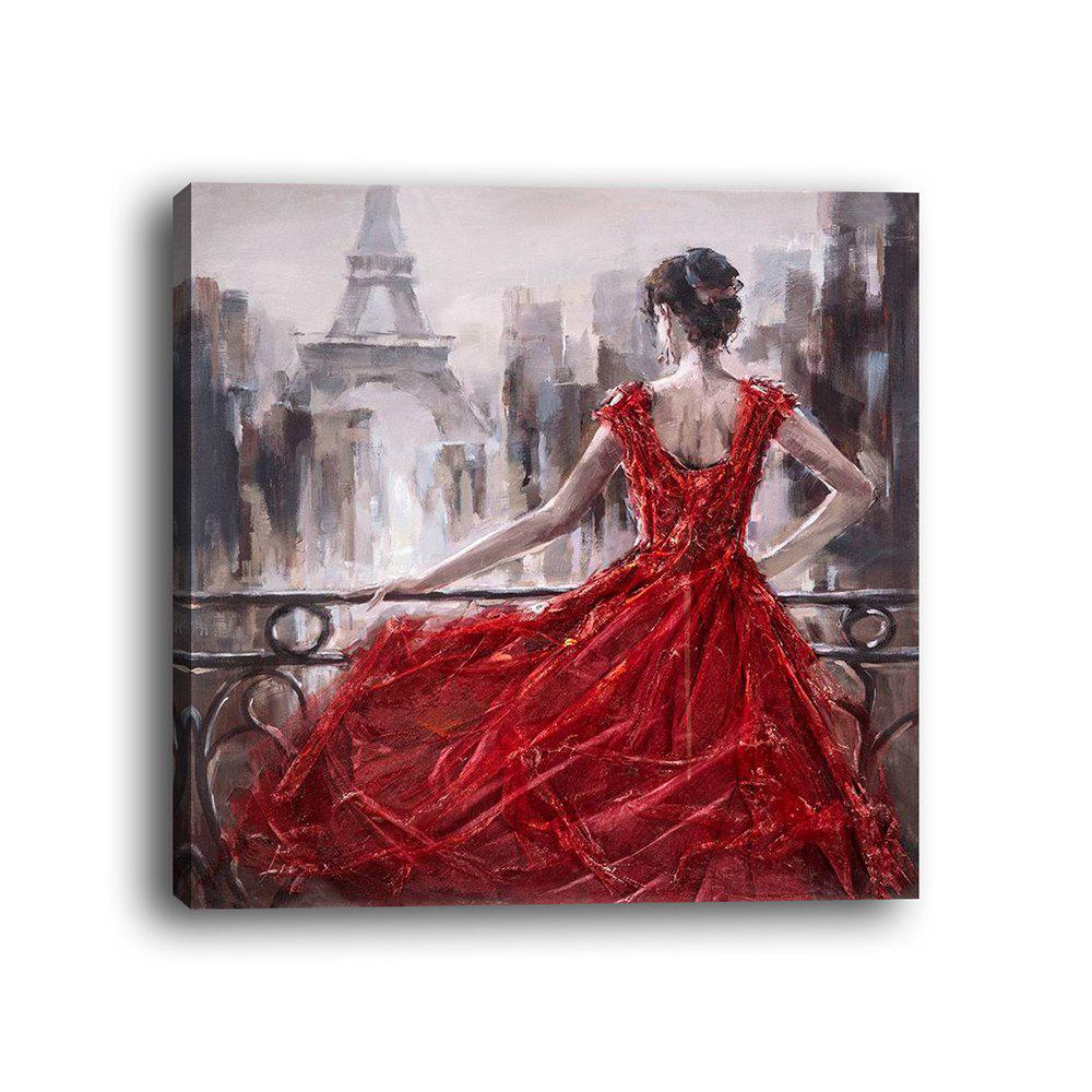 Fashion Framed Canvas Background Wall Figure Red Skirt Girl's Back Decorative Print