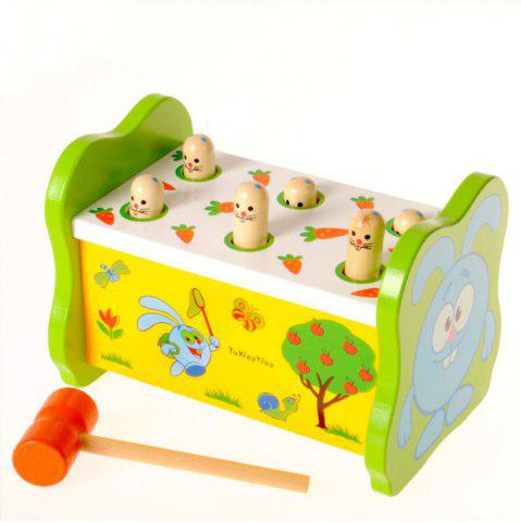 Parent child Interaction Wooden Knocking Toy Rabbit Ground Mouse Game