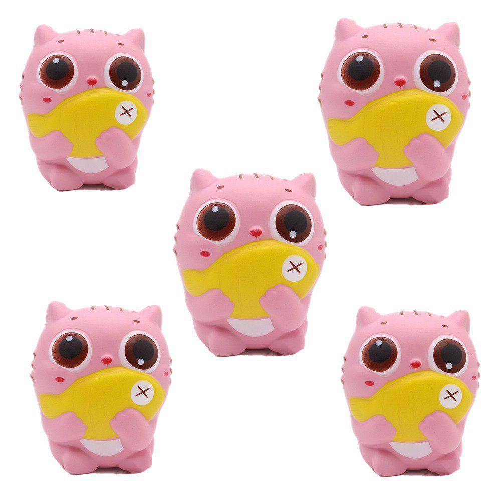 Outfits Slow Rebound Series of Lovely Elastic Cat Holding Fish Toys Jumbo Squishy 5PCS