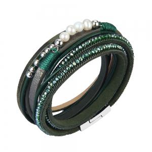 Fashion Accessories Multi - Layer Leather Pearl Crystal Bracelet -
