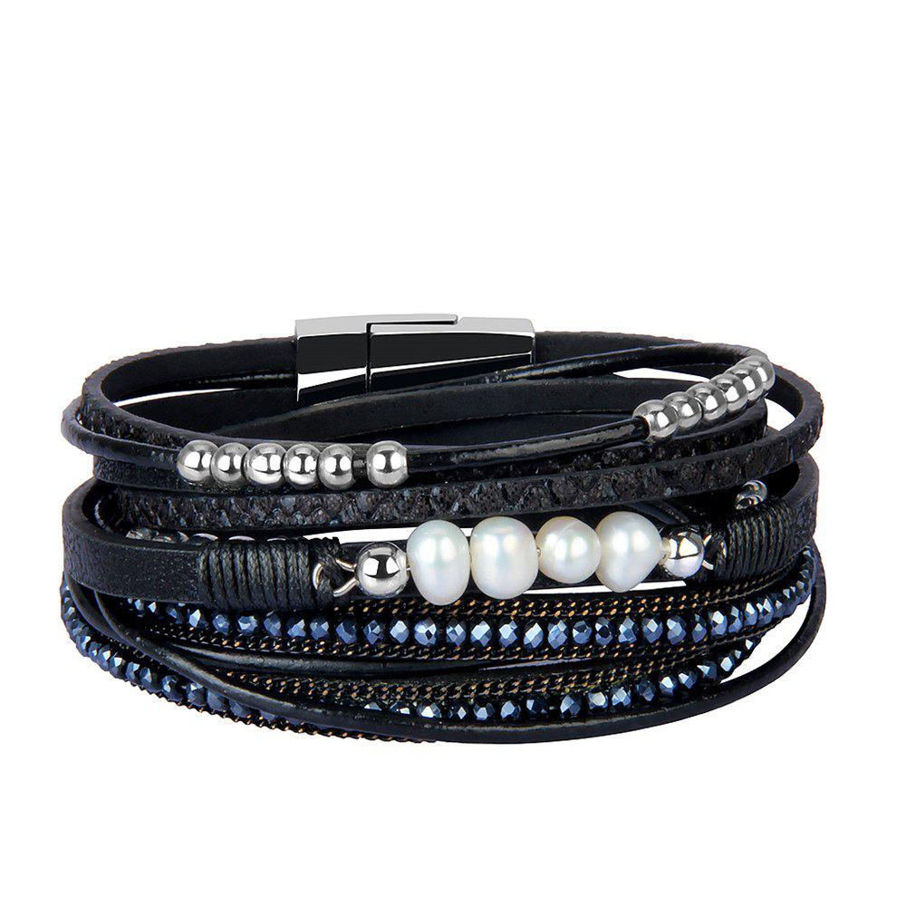 Shops Fashion Accessories Multi - Layer Leather Pearl Crystal Bracelet