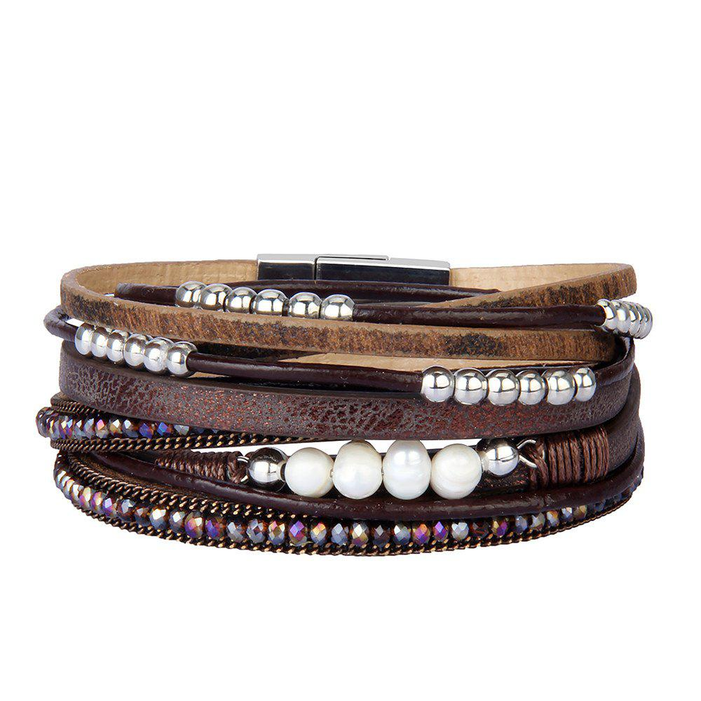 Outfit Fashion Accessories Multi - Layer Leather Pearl Crystal Bracelet