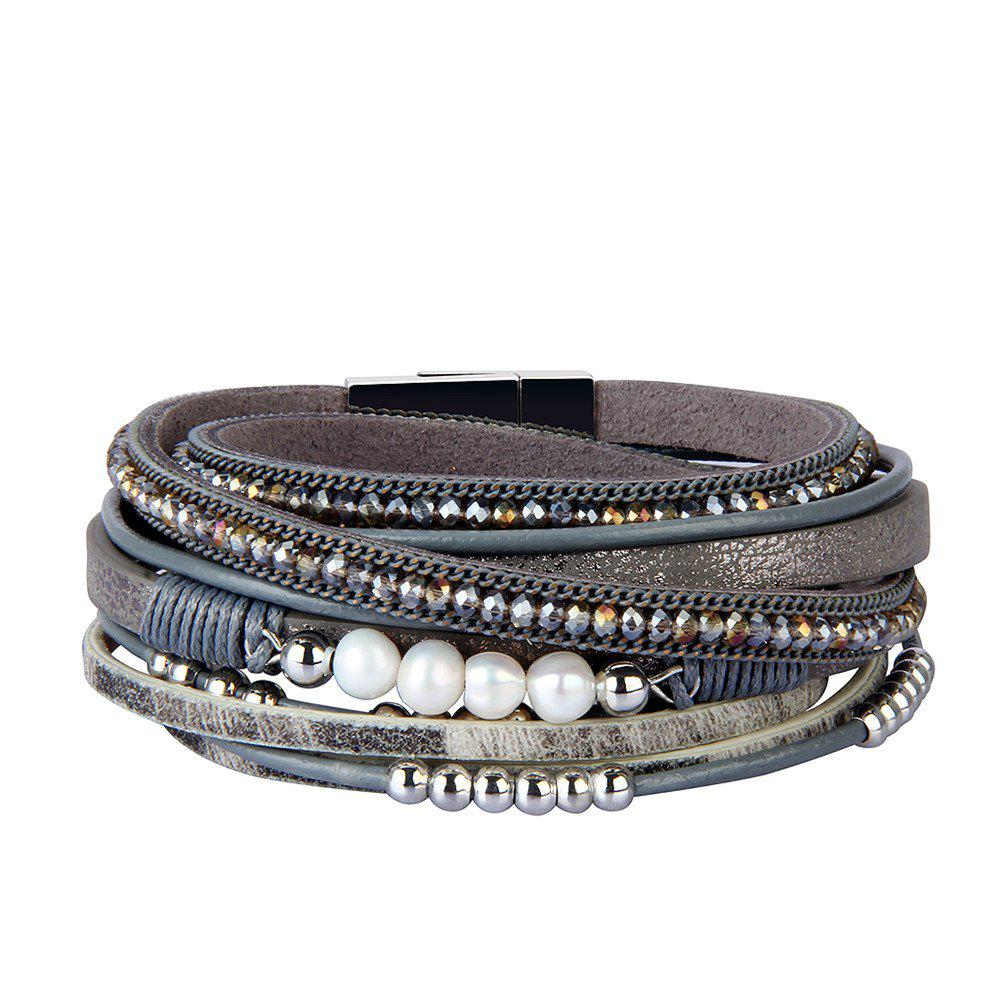 New Fashion Accessories Multi - Layer Leather Pearl Crystal Bracelet