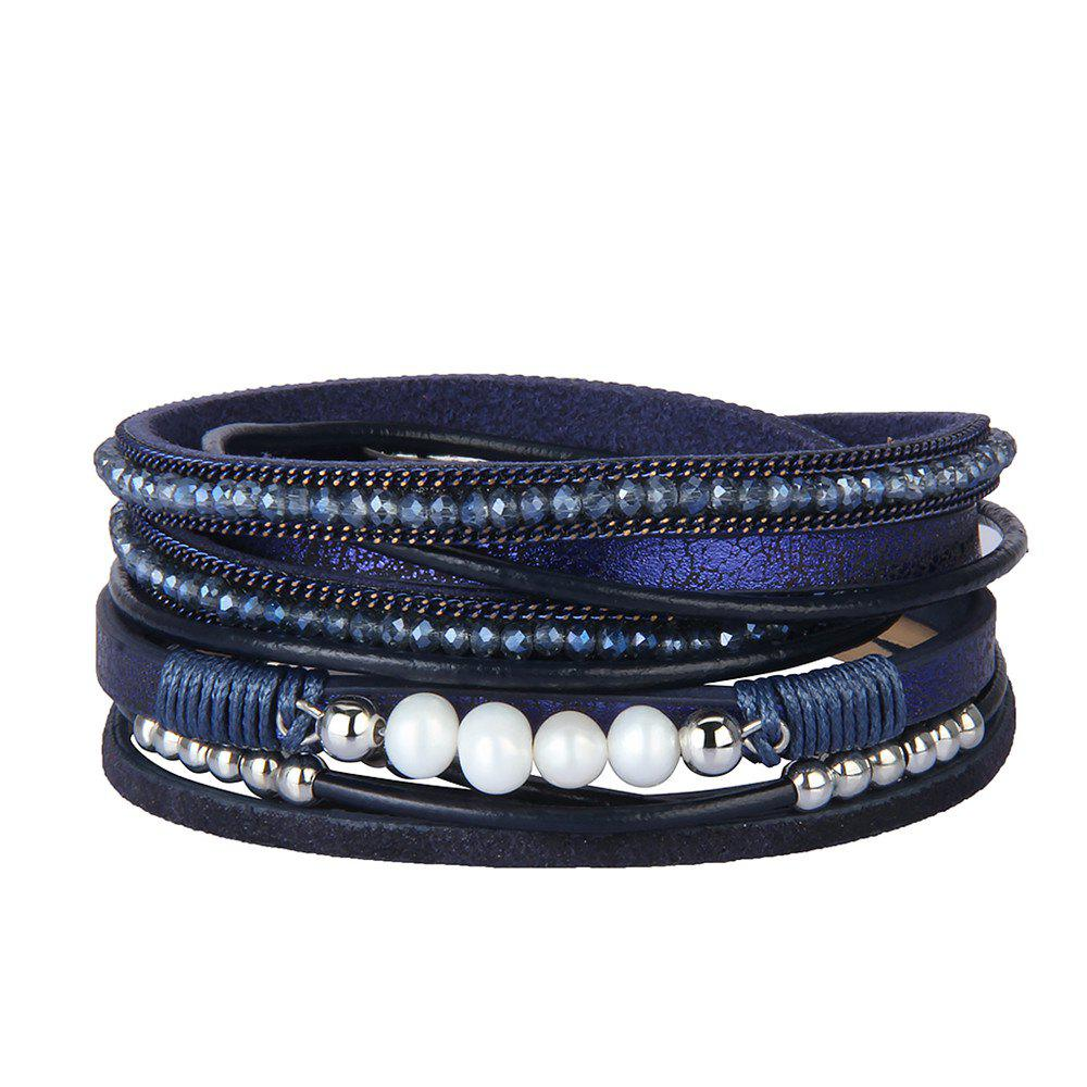 Trendy Fashion Accessories Multi - Layer Leather Pearl Crystal Bracelet