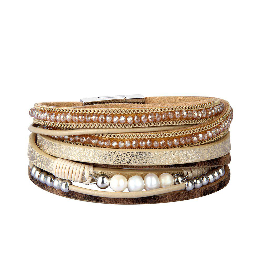 Shop Fashion Accessories Multi - Layer Leather Pearl Crystal Bracelet