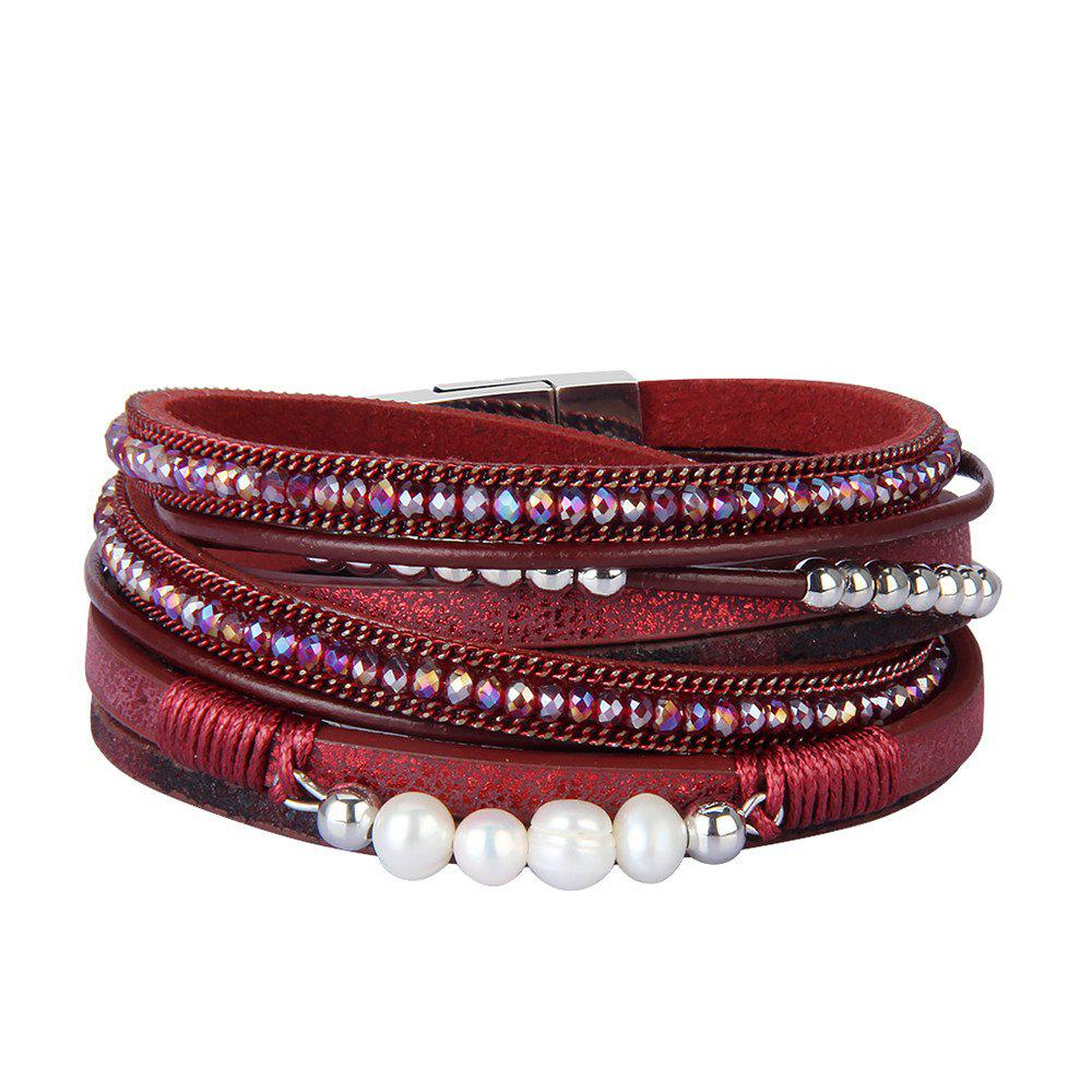 Hot Fashion Accessories Multi - Layer Leather Pearl Crystal Bracelet