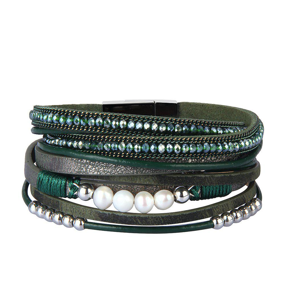 Best Fashion Accessories Multi - Layer Leather Pearl Crystal Bracelet